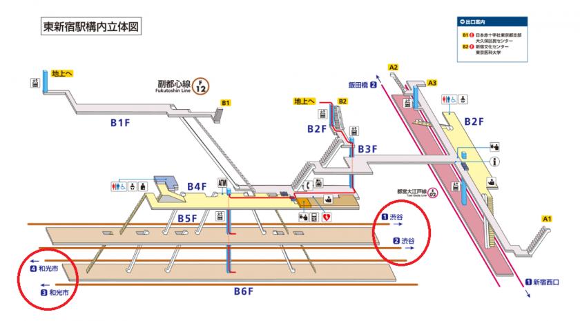 東新宿駅構内立体図