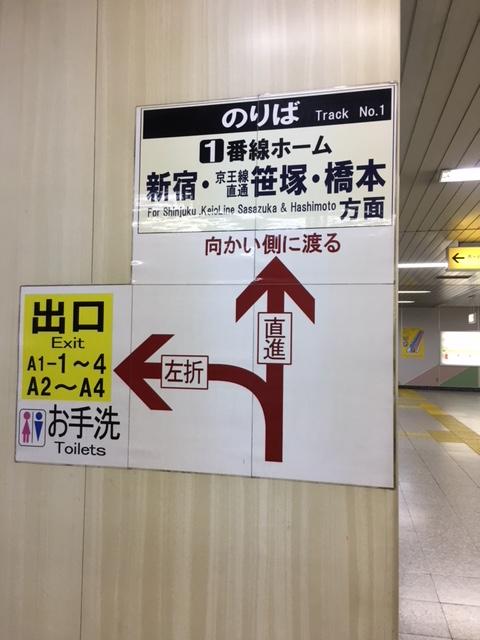 1番線ホーム 案内標識